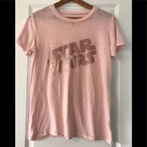 Star Wars pink burn out tee with rose gold print